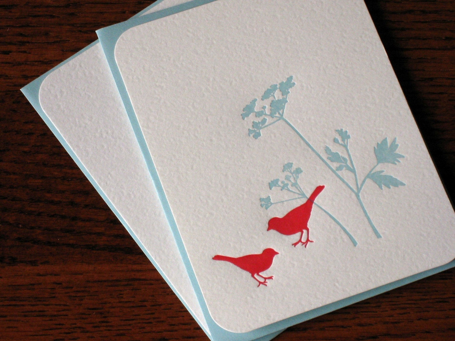 Letterpress Flat Note and Envelope - birds and flowers