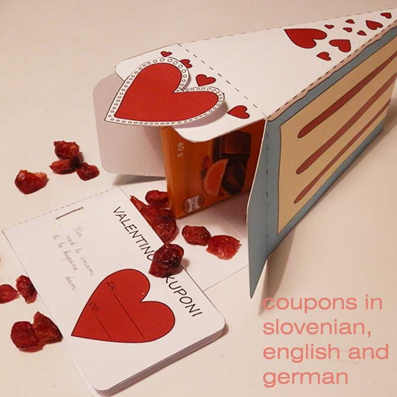 Last minute valentine gift, valentine cake, valentine coupons- in english, german and slovenian - printable