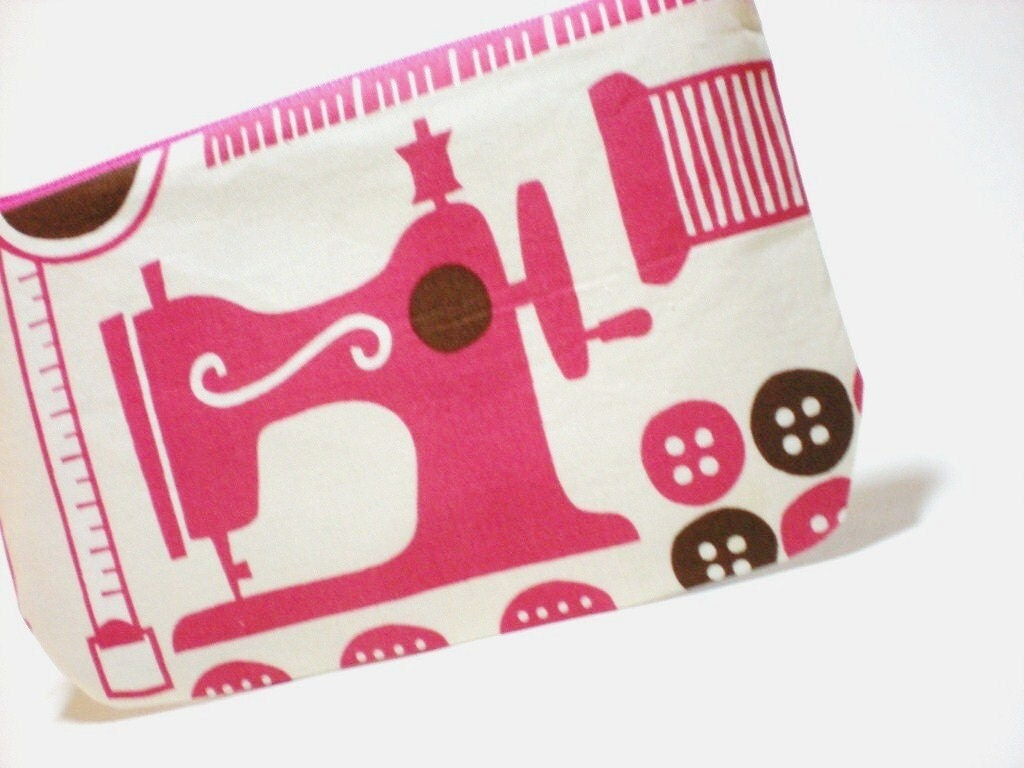 Pink Sewing Machine Large Zipper Pouch