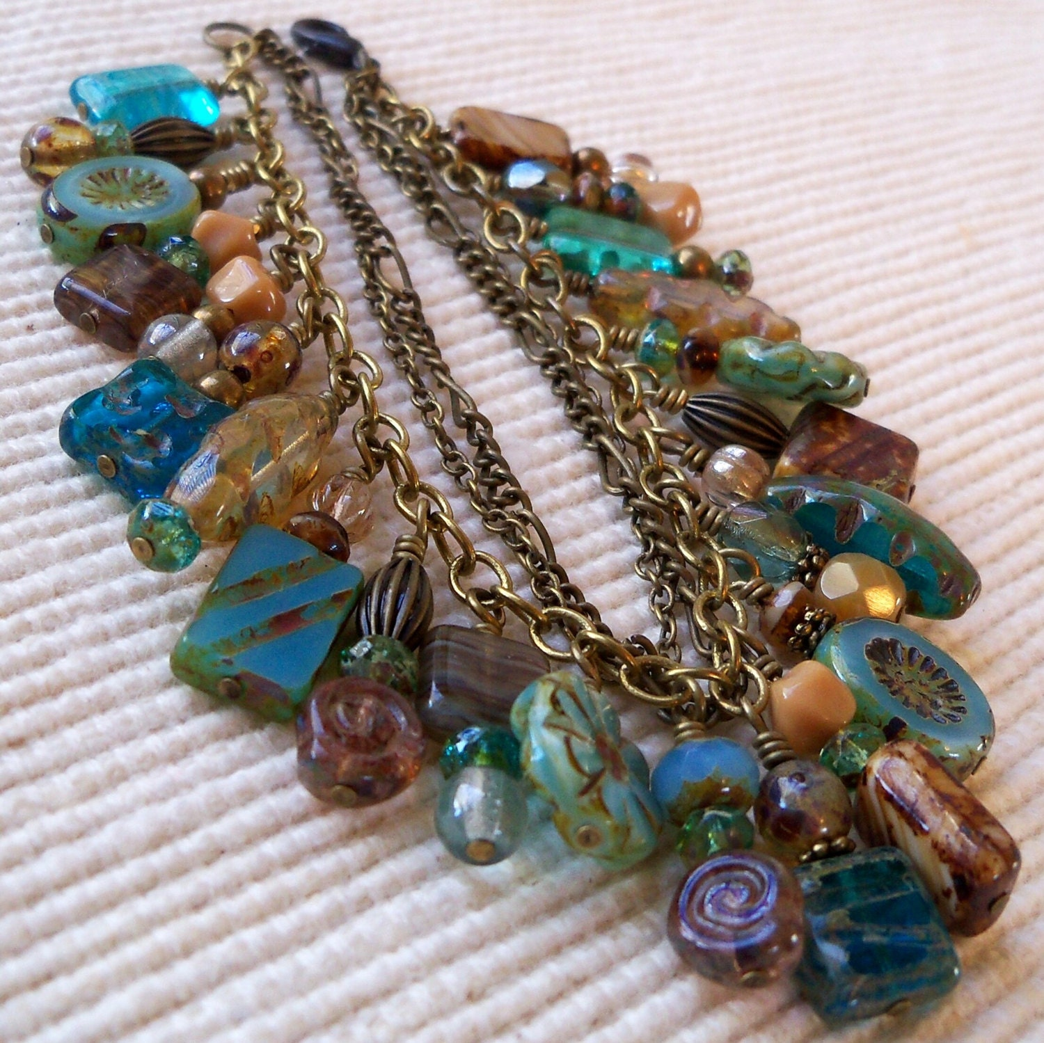 Aqua Blue, Topaz, Brown, Antique Brass Premium Czech Glass Beaded Bracelet - mompotter