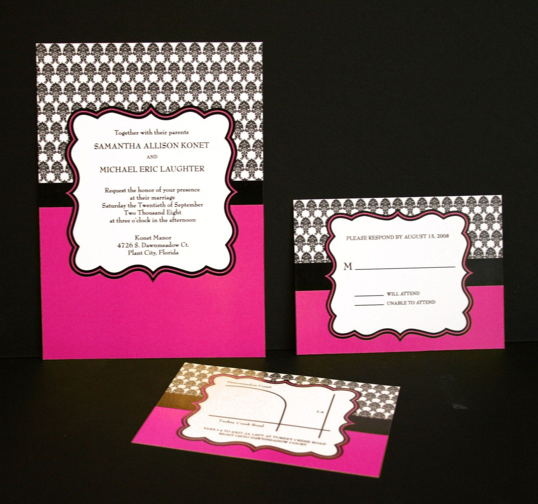damask wedding invitation set (sample)