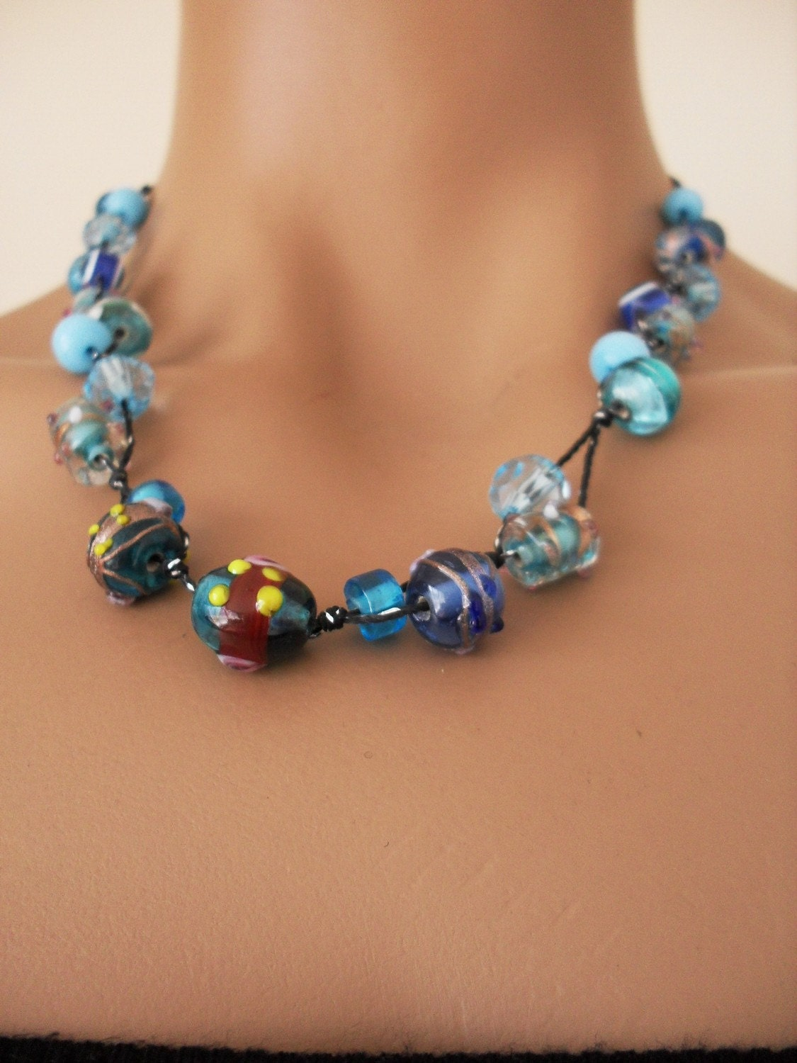 Handmade Very Chic Glass Beads Sky Blue Necklace by divaoutlet from etsy.com