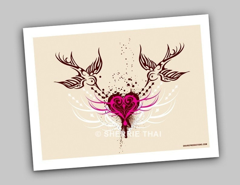Tribal Sparrows and Heart art print by sherrie thai of shaire productions