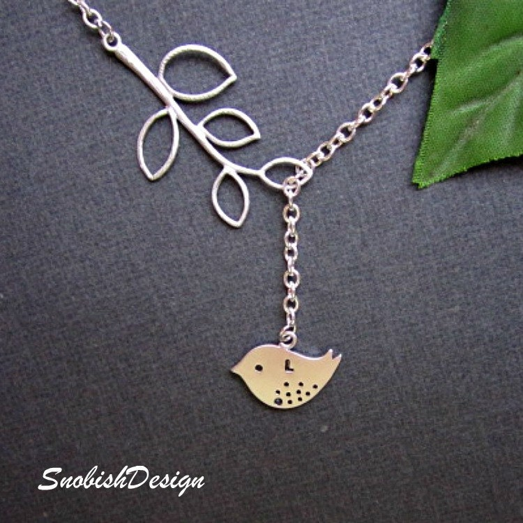 Bird Jewelry  Leaf Branch and Sparrow Necklace  by SnobishDesign from etsy.com