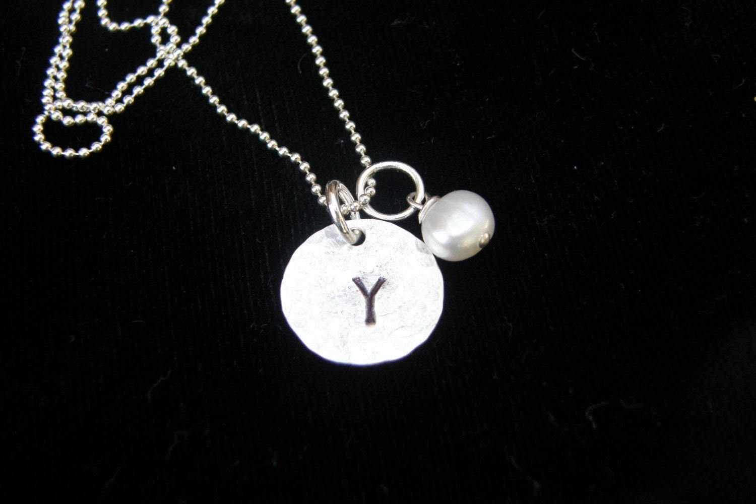 Your Initial On A Sterling Silvel Disc With A Pearl