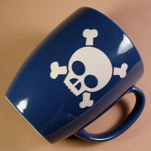 Reclaimed Skull and Crossbones Mug - Twilight Blue