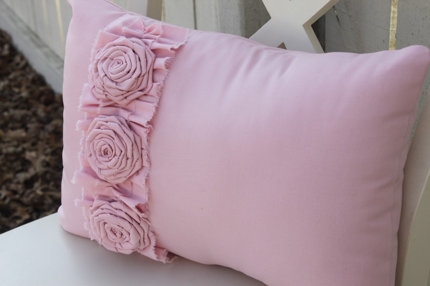 Pink Pillow with Frayed Ruffle and 3 Flower Rosette