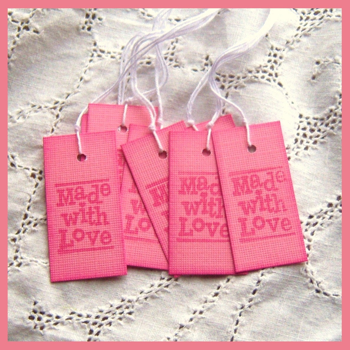 "MADE With LOVE Hang Tags - Pink, Stamped on the front and back, Hearts, 1"" x 2"""