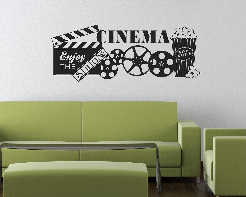 Wall Decor Movie Room : Cinema movie popcorn theater show vinyl by