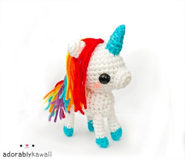 Crochet Unicorn Doll : Kawaii Rainbow Unicorn Amigurumi Plush Doll Toy by adorablykawaii