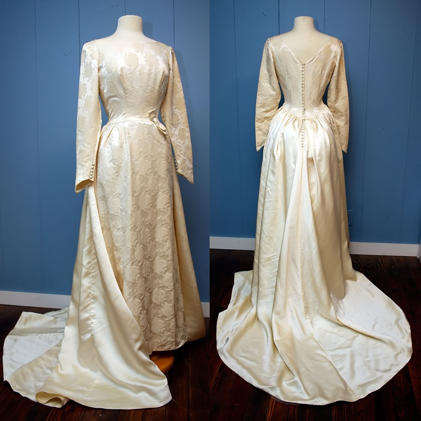 Vintage Off White Victorian Wedding Gown with Bustle