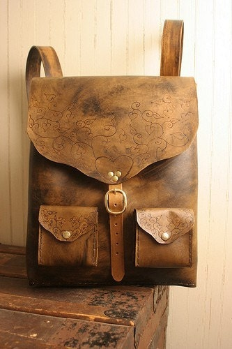 Etsy :: moxieandoliver :: Grace Backpack - Leather in Antique Brown and Brass from etsy.com