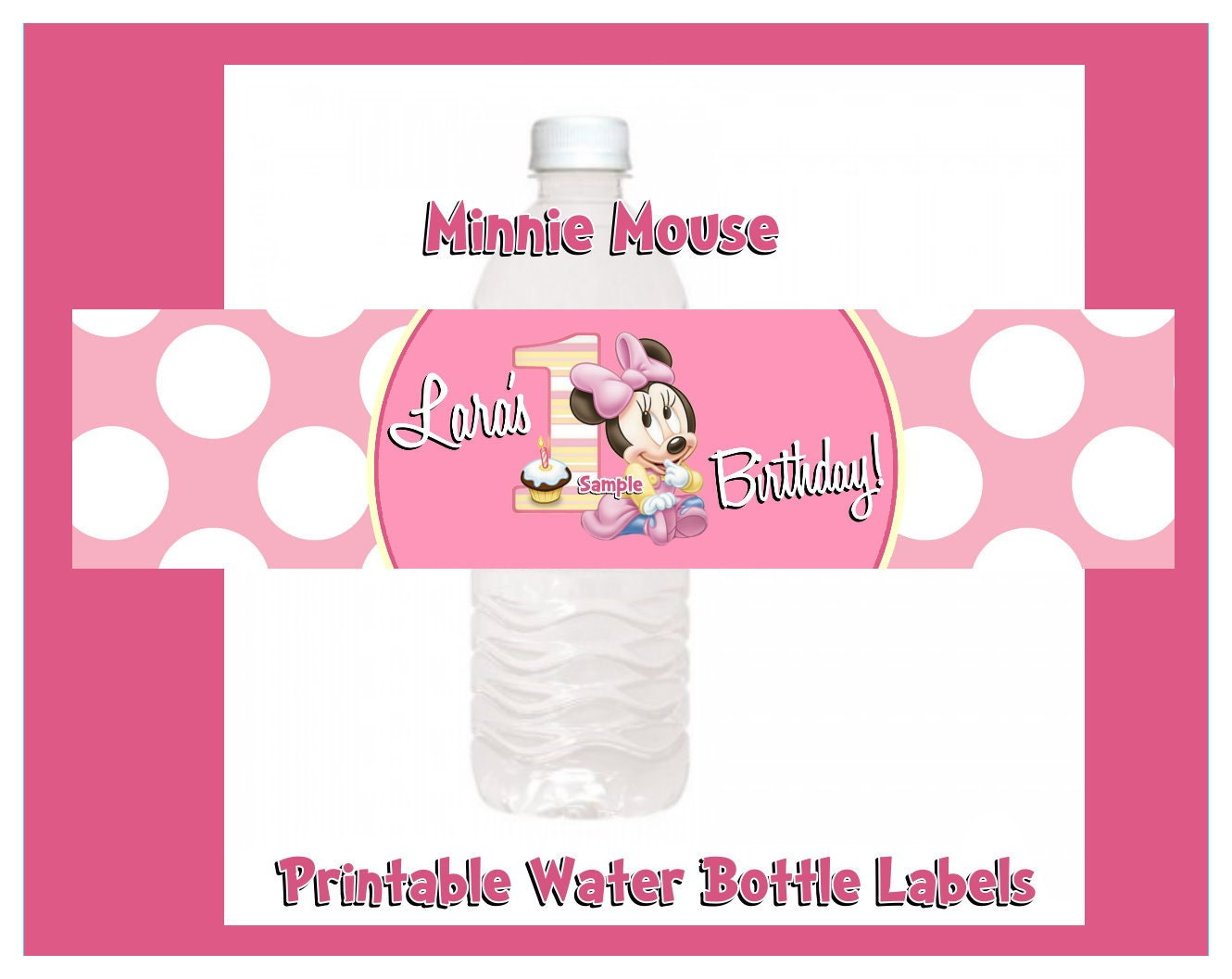Minnie Mouse 1st Birthday Water Bottle Label by Createphotocards4u
