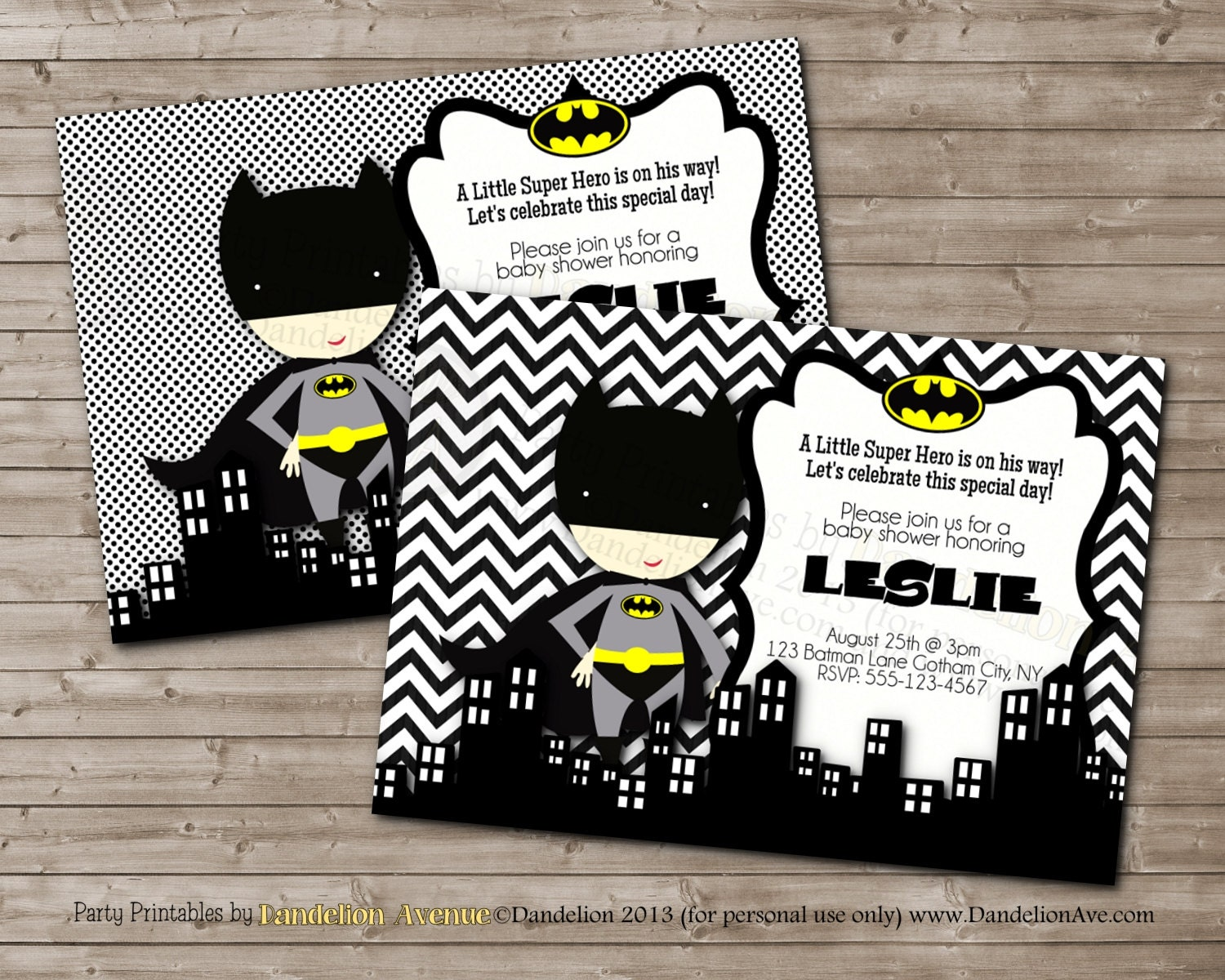 little hero batman printable baby shower party invitation