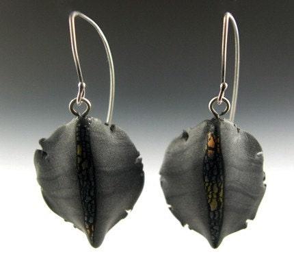 Leaf Earrings in Grey
