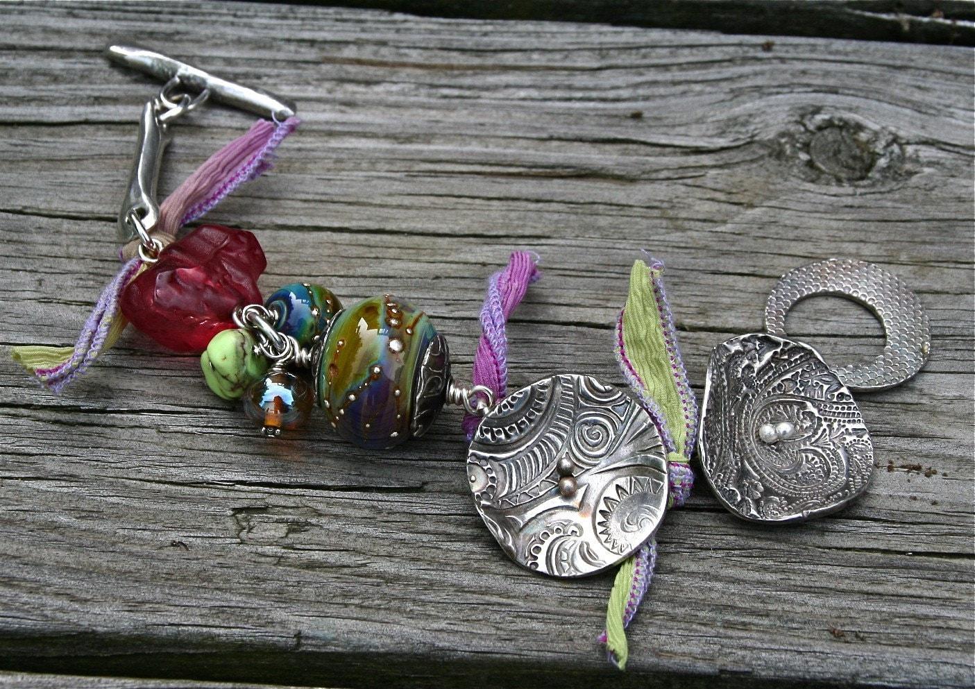 Fine Silver and Lampwork Glass Bracelet