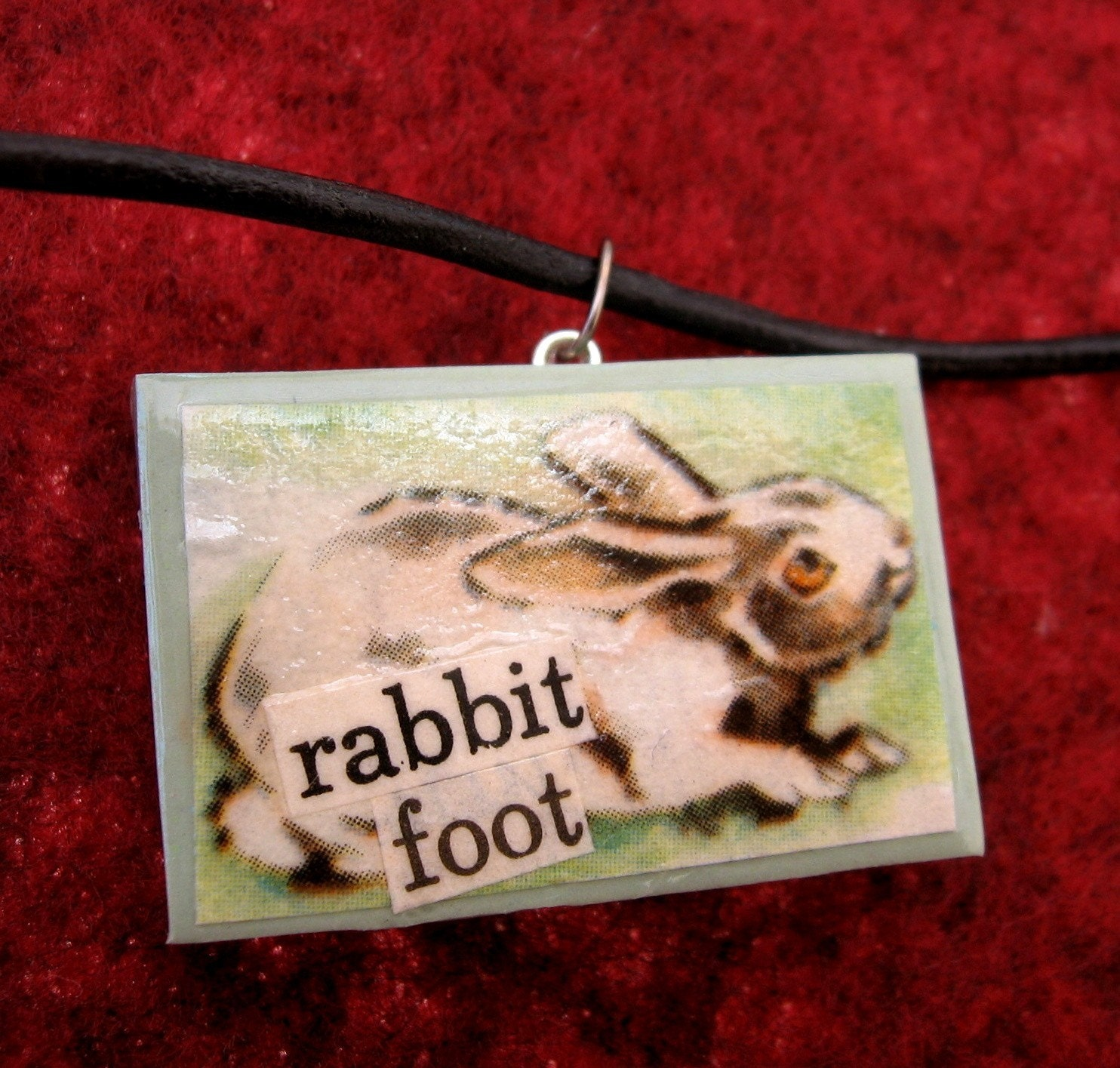 Lucky Rabbit Foot pendant (on leather cord)