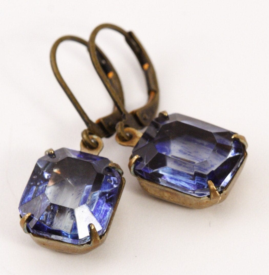 Vintage Glass Jewel Earrings - Iolite Blue