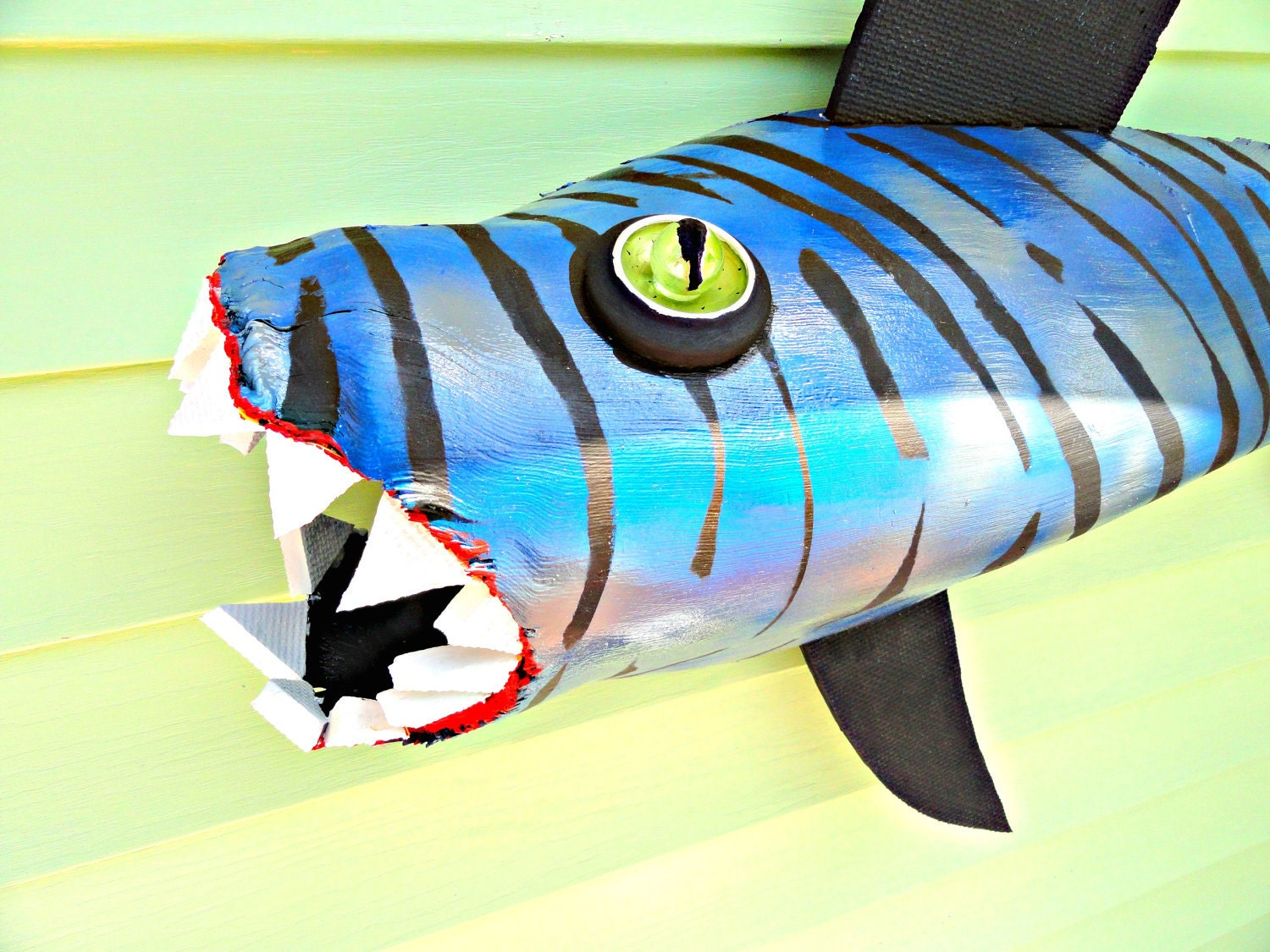 SHARK.....      Blue Stripped Tiger Camo  4 feet Orig  on reclaimed Palm Frond