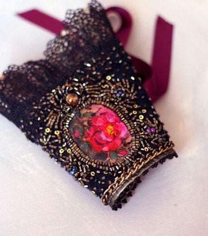 Victoriana IV - unique elegant wearable art  cuff with hand painted cameo  Victorian Boho