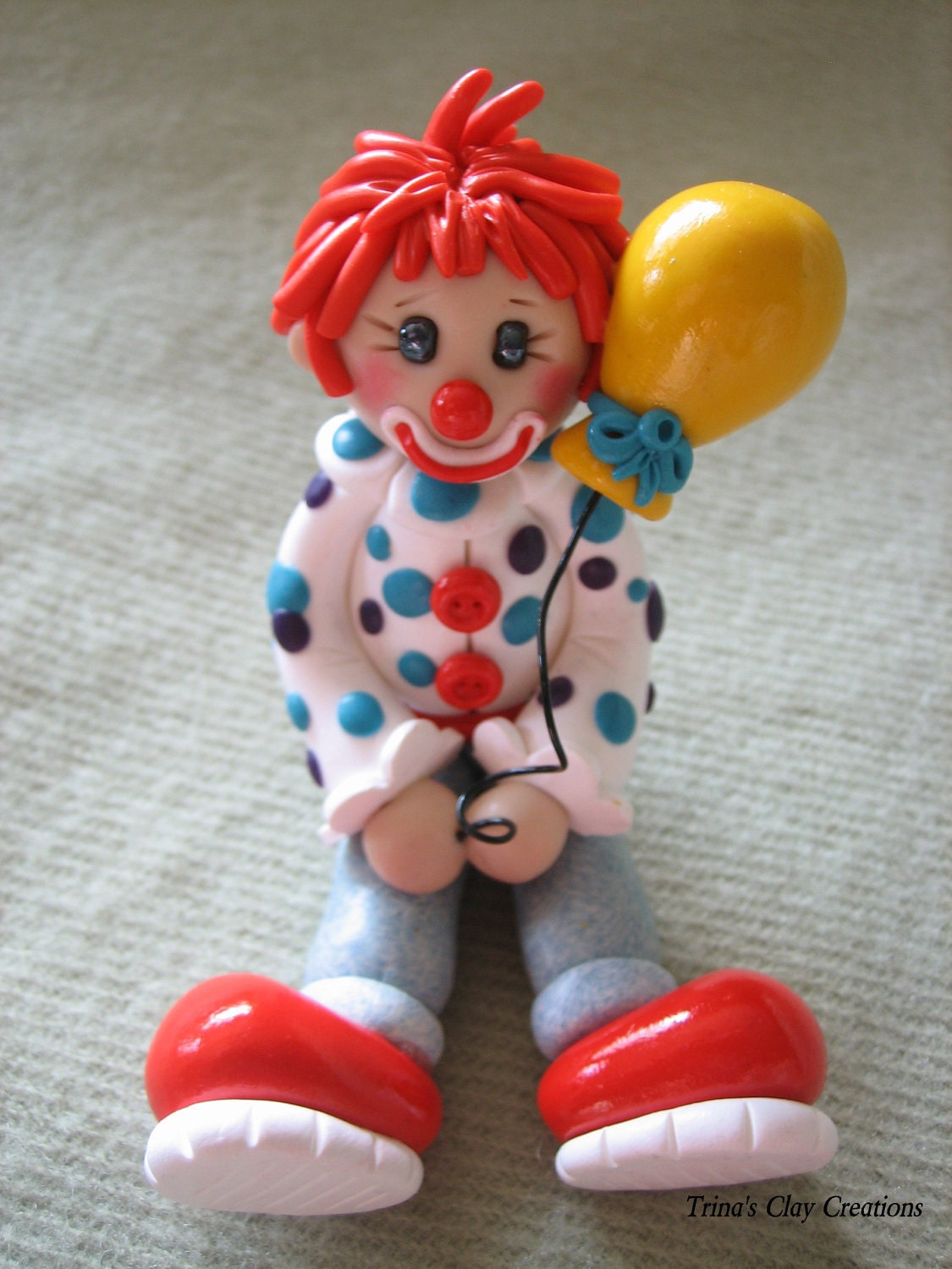 Polymer Clay Clown With A Balloon - trinasclaycreations