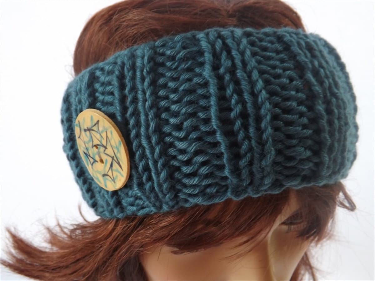 Knitting Pattern Headband With Button : Items similar to Blue Hand Knitted Headband/Ear Warmer ...