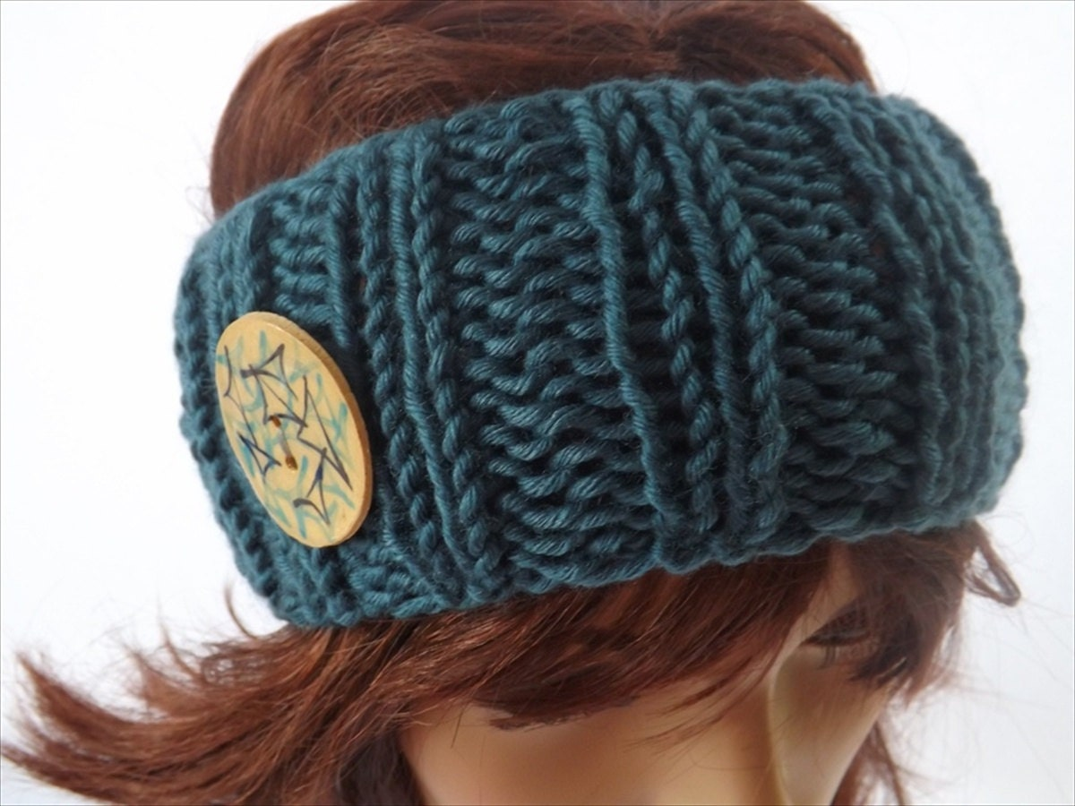 Knitted Headband With Button Pattern : Items similar to Blue Hand Knitted Headband/Ear Warmer with Ceramic Button on...