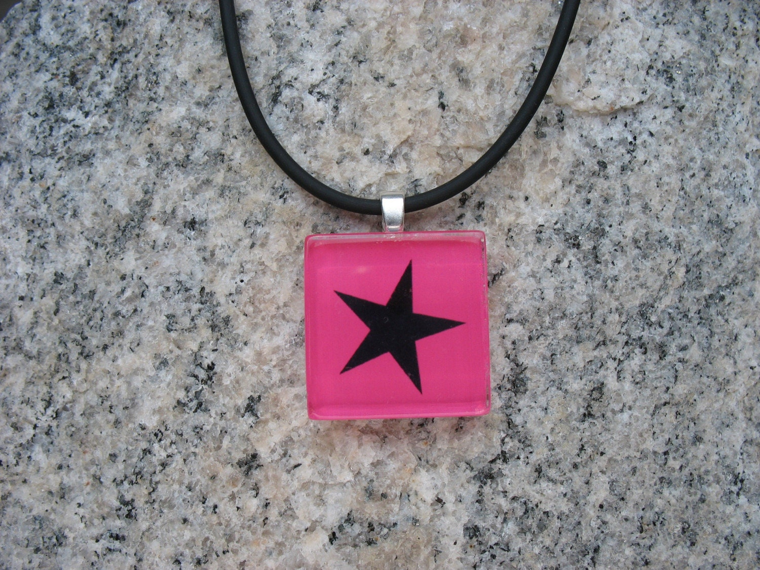 Emo Star Hot Pink Glass Tile Necklace