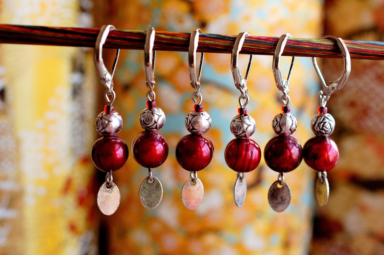 Rosebud Jasmine Pearl Locking Stitch Markers - LittleKnittyBird
