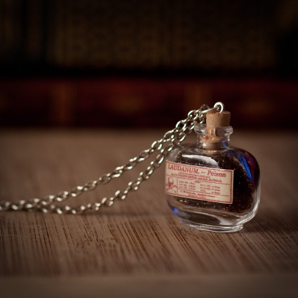 Laudanum / Poison Bottle Necklace with Antique replicated Label