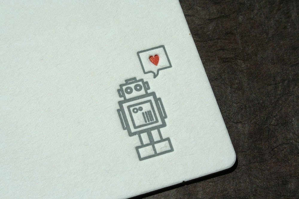 Set of 12 - Letterpress Printed Robot with Heart Coasters