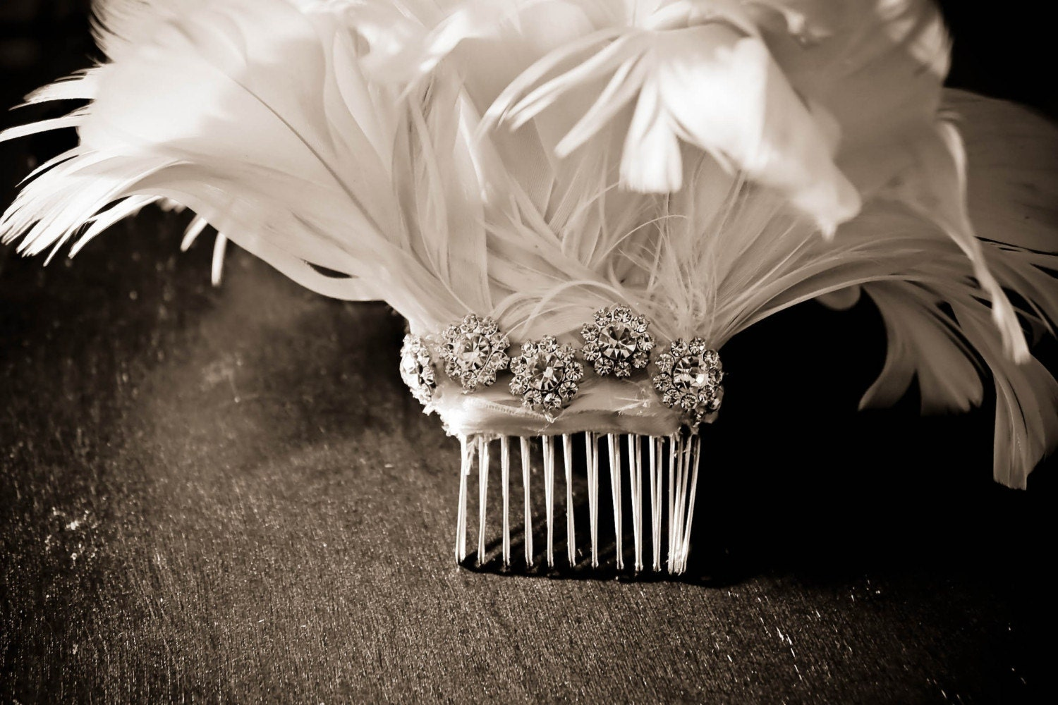 Fallon, a fascinator feather flowers drenched in vintage Swarovski crystals