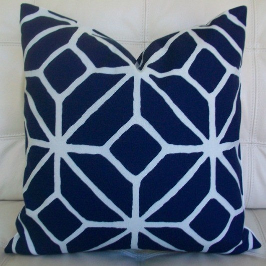NEW - Decorative Designer Pillow Cover - 18X18 - Trina Turk for Schumacher - Trellis Print in Navy Blue and off white