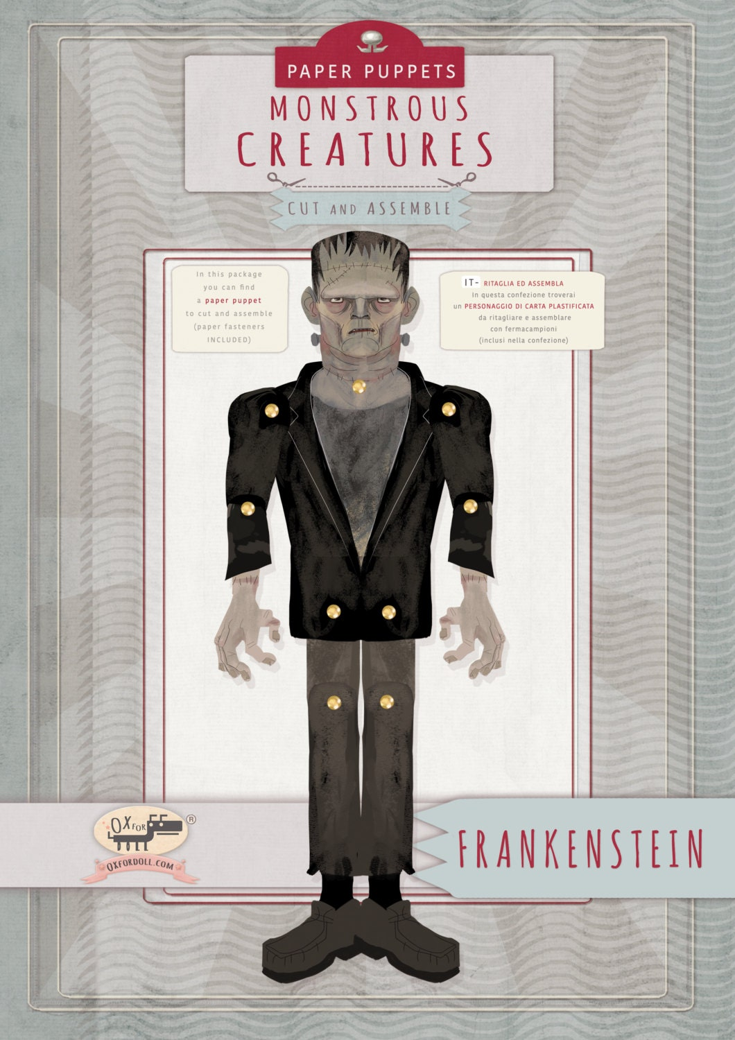 FrankensteinHalloween Kids Craft laminated paper toy Make your own Character