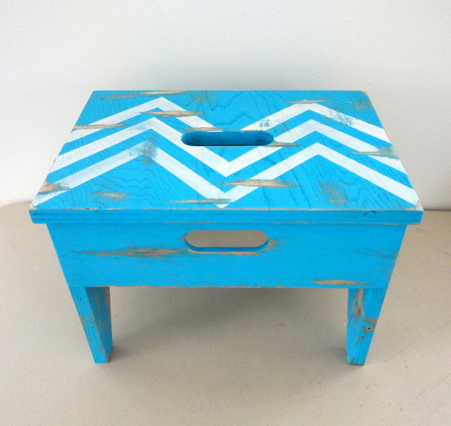 Step Stool Chevron Vintage Upcycled Old Stool Chippy Paint Turquoise and White - KimBuilt