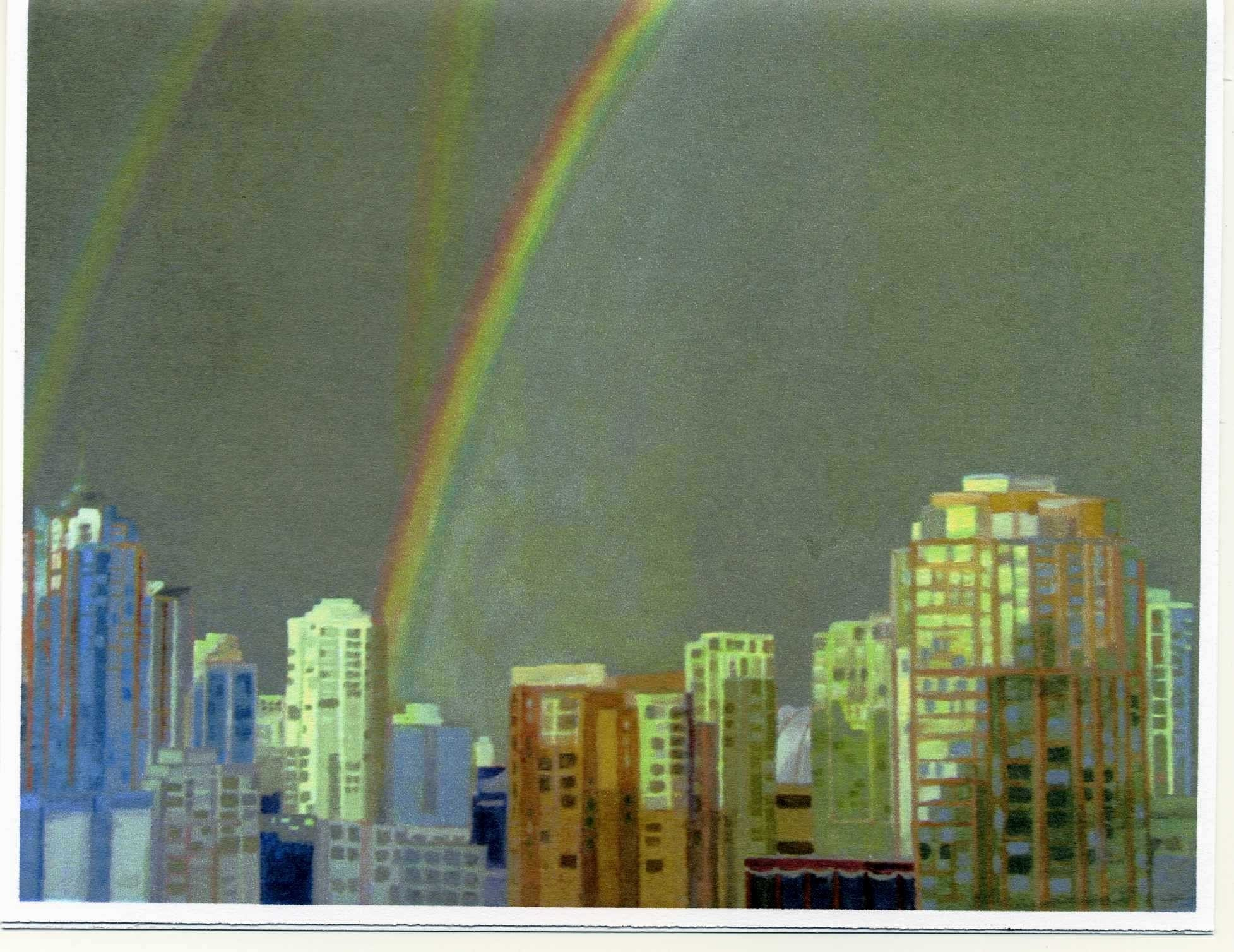 Set of 4 Cards Printed from Original painting Vancouver BC Rainbow