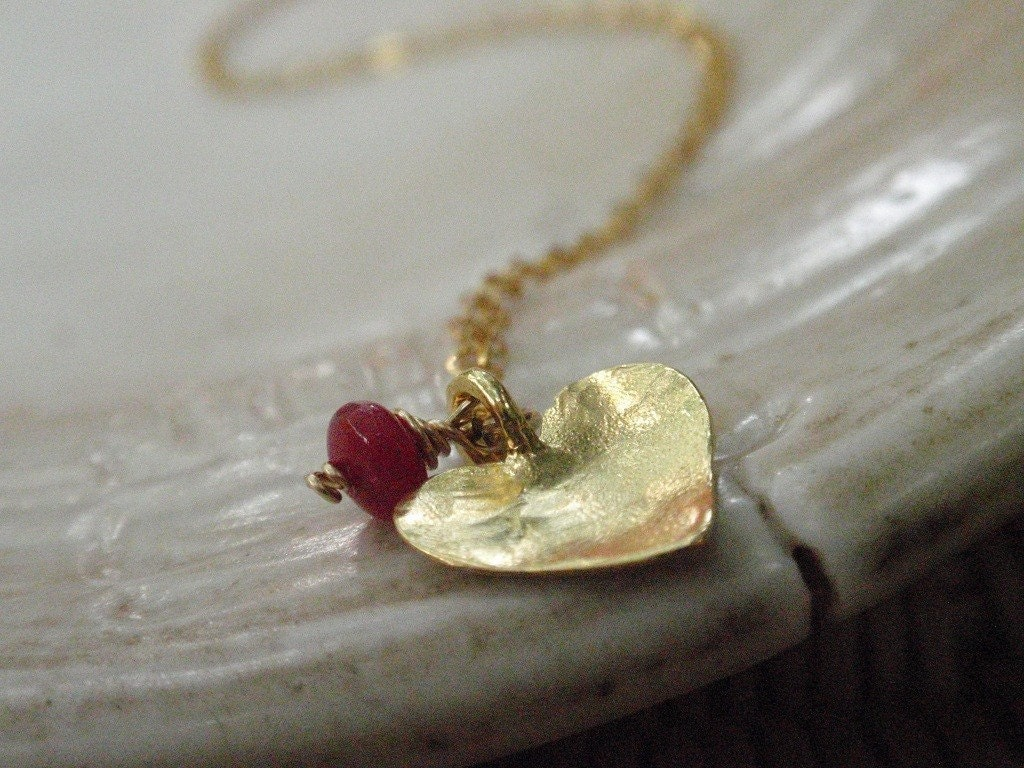 HOLIDAY SALE - Ruby Heart Necklace ,14K Gold filled