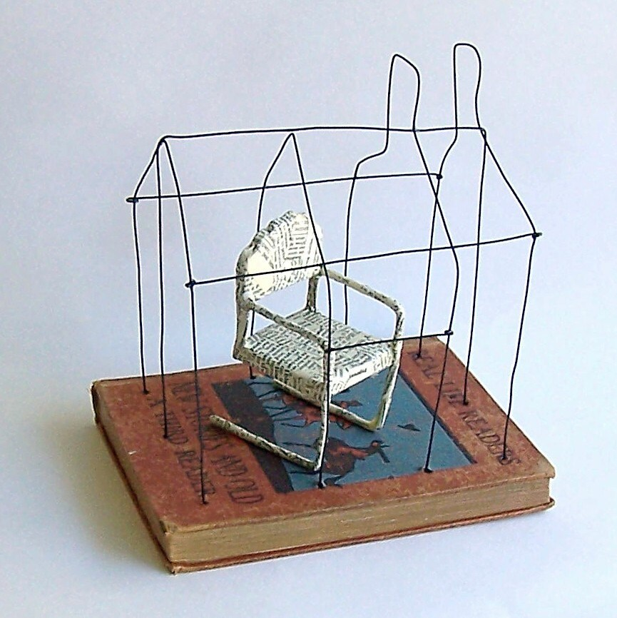 A House with a Reading Chair  New Stories and Old Original Wire Mixed Media Altered Book