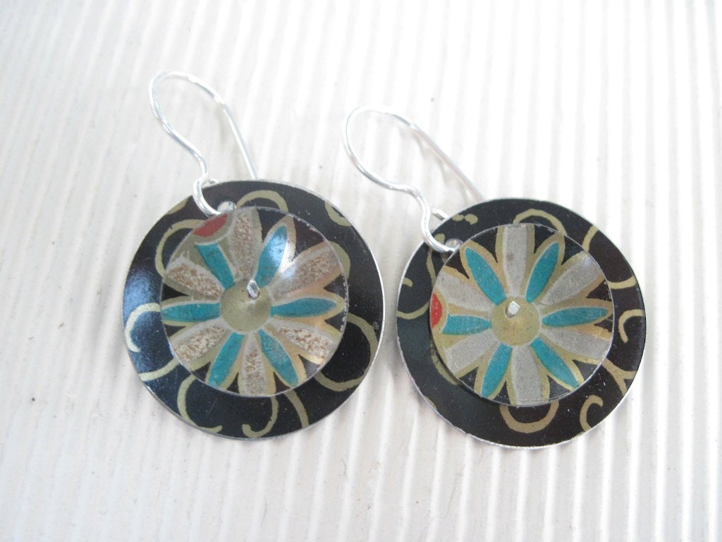 Black Turquoise Medallion Disc Earrings-Recycled Tin-Ornate Patterns-Lightweight Earrings