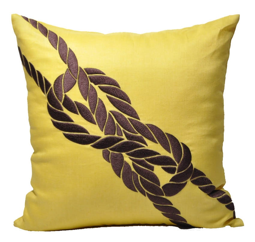 Items similar to Rope Decorative Pillow Cover, Throw Pillow Cover , Yellow Linen , Dark Brown ...