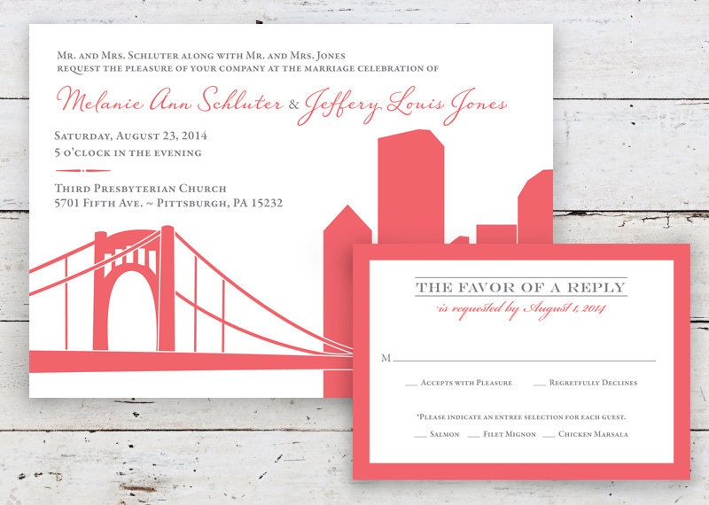 Pittsburgh Skyline Wedding Invitation By Twopoochpaperie On Etsy