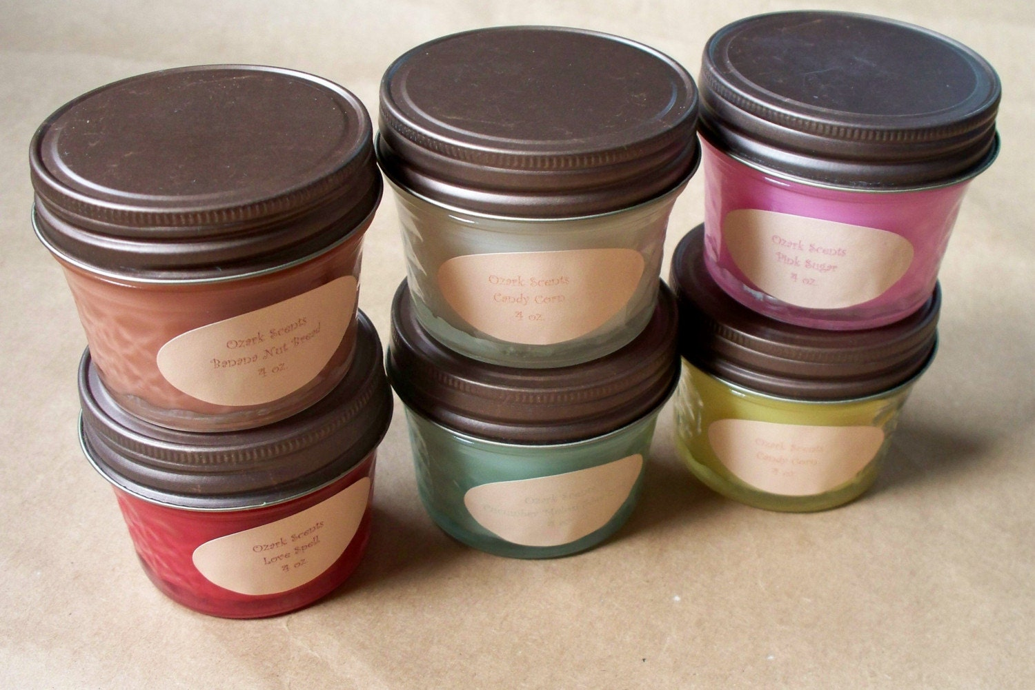 Sampler pack-- SOY BLEND-- 6-4oz jars-- You Choose Scents