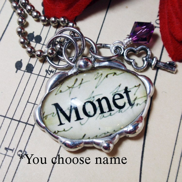 Oval Glass Fancy Bumpy Silver Soldered Custom Name - You Choose Necklace