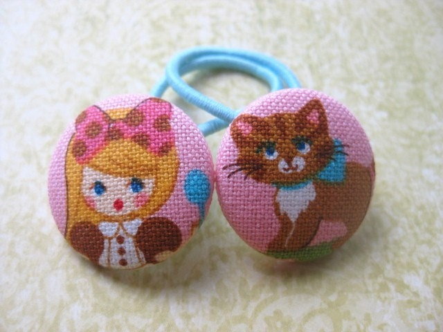 LAST SET Alice in Wonderland Hair Tie Pair of 2 Piggytail Ponytail Holders