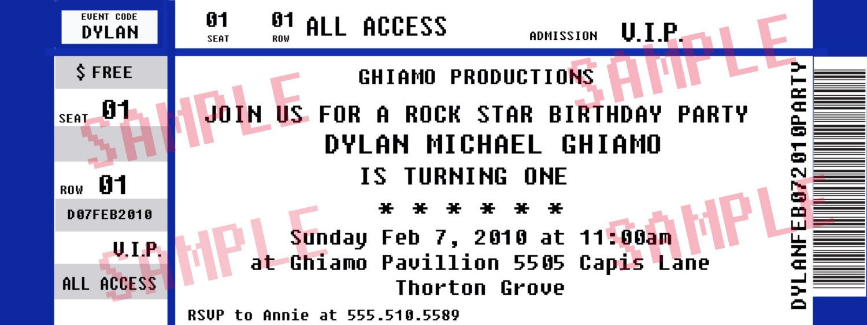 concert ticket invitations template – Invitation Ticket Template
