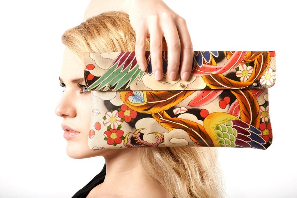 Leather Clutch bag  Or Shoulder Bag  Ladies Handbags  Japanese Phoenix tattoo design (Exclusive range)