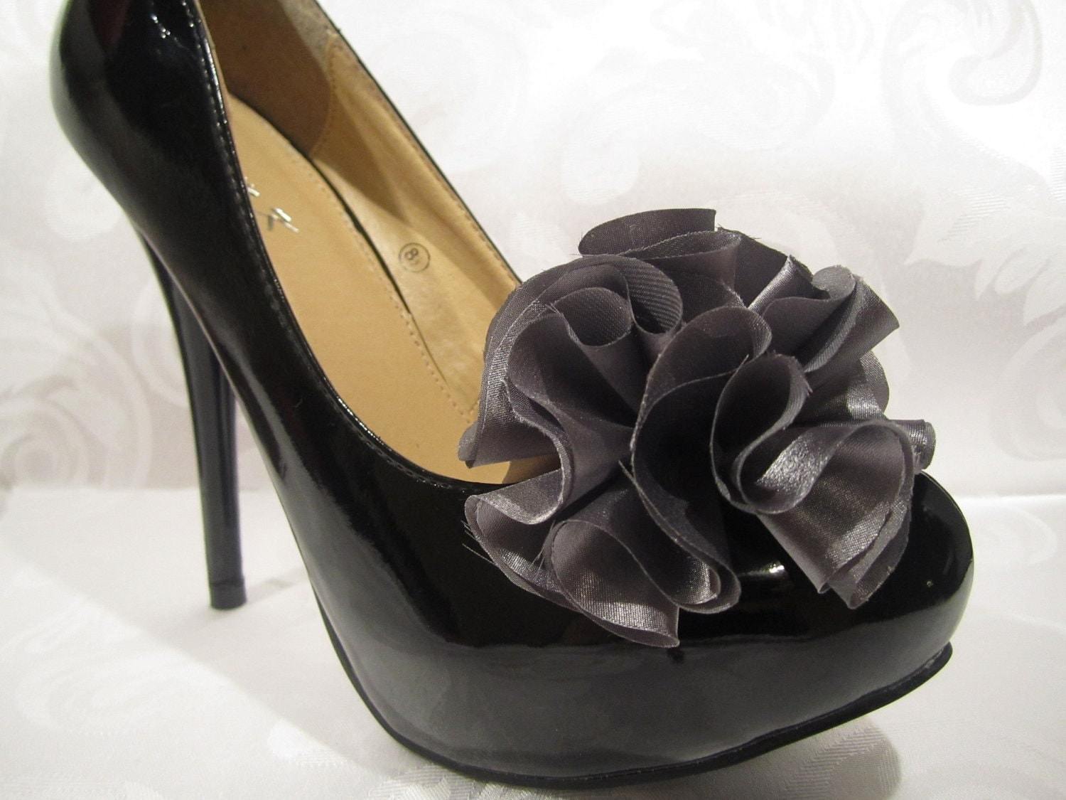 Charcoal satin handmade flower - shoe clips