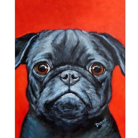 Pug Art Print, Original Acrylic Painting, Vertical Pug Dog on Red