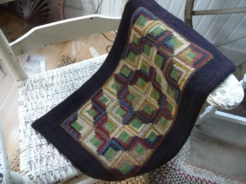 Primitive Hooked Wool Rug Log Cabin Design