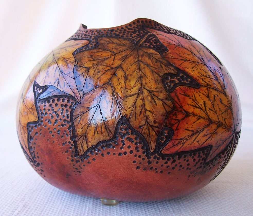 Vevey Burnt Tones Only: Medium Wine Tone Gourd Bowl Wood Burned Ink Dyed By